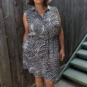 Mossimo XL Black and White Shirt Dress w/ pockets